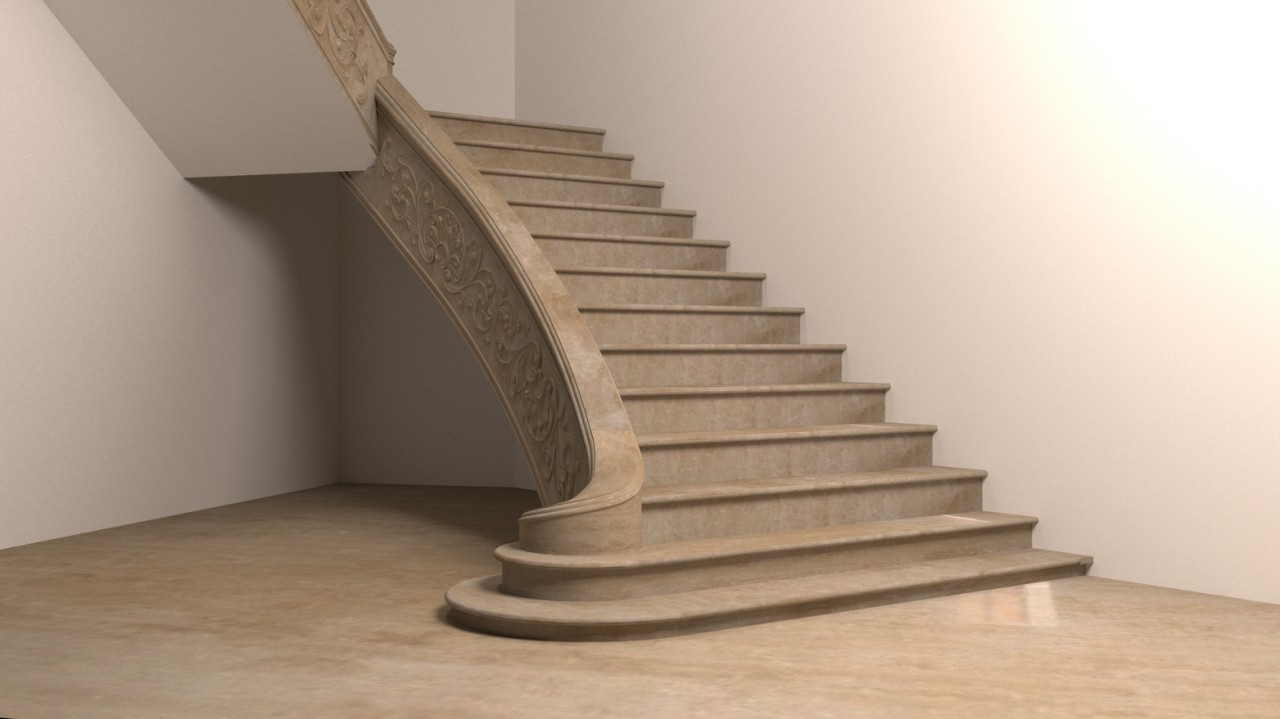 Визуализация лестницы из мрамора